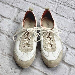 Geox Respira Women's White Leather Suede Tennis Sh